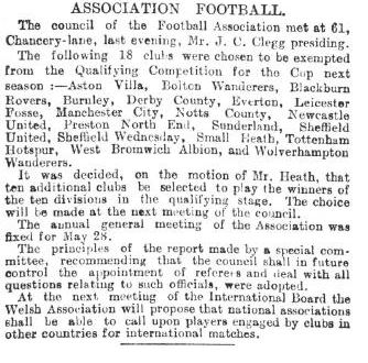 Cutting from the Times in 1900 showing how the top clubs voted to exempt themselves from the qualifying rounds of the cup
