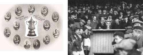 FA Cup Final 1911: Bradford City being presented with the new FA Cup which was also made in Bradford