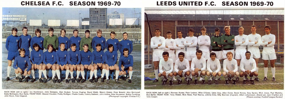 Chelsea and Leeds United Teams in 1970
